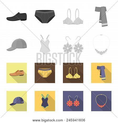 Cap, Earrings, Necklace, Swimsuit. Clothing Set Collection Icons In Monochrome, Flat Style Vector Sy