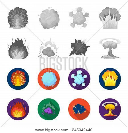 Flame, Sparks, Hydrogen Fragments, Atomic Or Gas Explosion. Explosions Set Collection Icons In Monoc