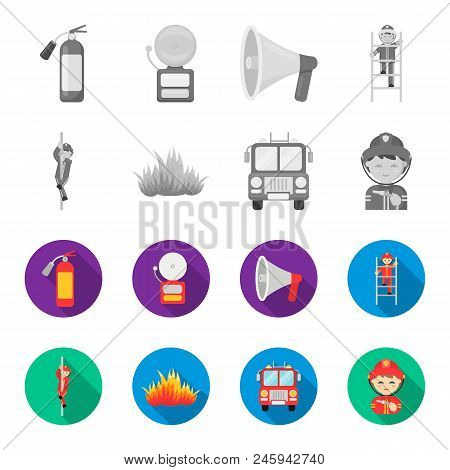 Fireman, Flame, Fire Truck. Fire Departmentset Set Collection Icons In Monochrome, Flat Style Vector