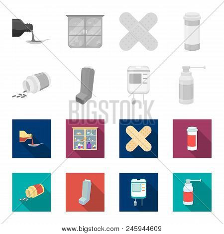 Tablets, Inhaler, Container With Blood, Spray.medicine Set Collection Icons In Monochrome, Flat Styl