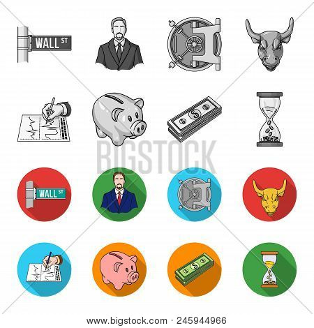 Bank, Business Schedule, Bundle Of Notes, Time Money. Money And Finance Set Collection Icons In Mono