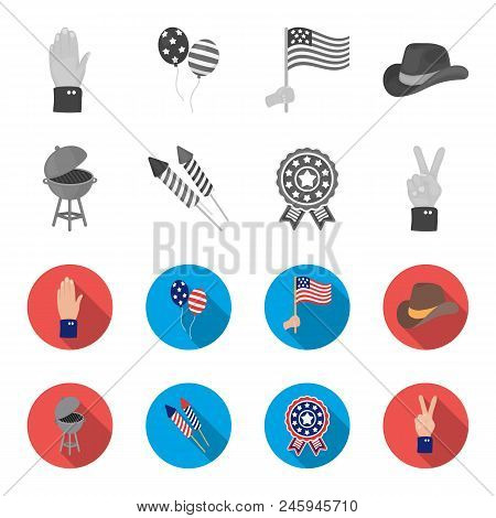 Barbecue, Salute, Voting Ebblema, Victory. The Patriot Day Set Collection Icons In Monochrome, Flat