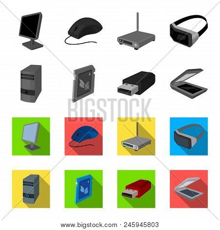 A System Unit, A Flash Drive, A Scanner And A Sd Card. Personal Computer Set Collection Icons In Mon