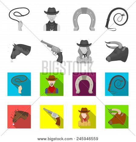 Head Of A Horse, A Bull Head, A Revolver, A Cowboy Girl. Rodeo Set Collection Icons In Monochrome, F