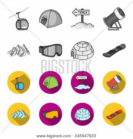 Mountains, Goggles, An Igloo, A Snowboard. Ski Resort Set Collection Icons In Monochrome, Flat Style