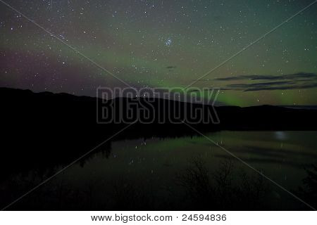 Night Sky Stars and Northern Lights mirrored