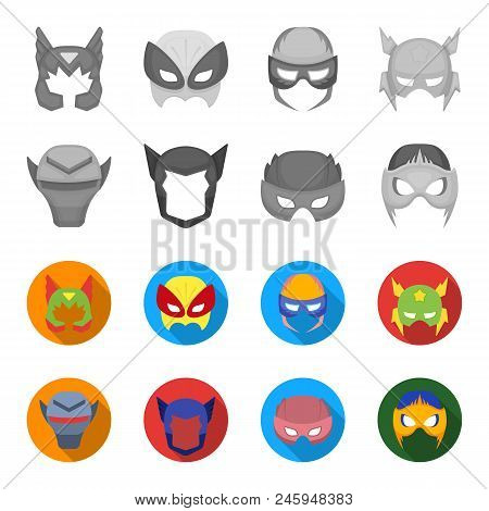 Helmet, Mask On The Head.mask Super Hero Set Collection Icons In Monochrome, Flat Style Vector Symbo