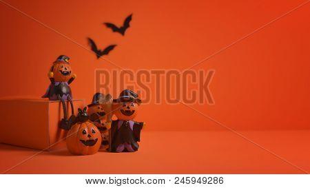 Halloween Pumpkins Jack-o-lantern On Orange Background. Halloween Pumpkin Background. Halloween. Jac