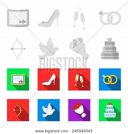 Arrow Cupid, Dove, Bouquet Of Flowers, Wedding Cake. Weddin Gset Collection Icons In Monochrome, Fla