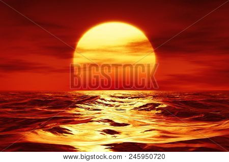 3d illustration of a sunset over the wild sea