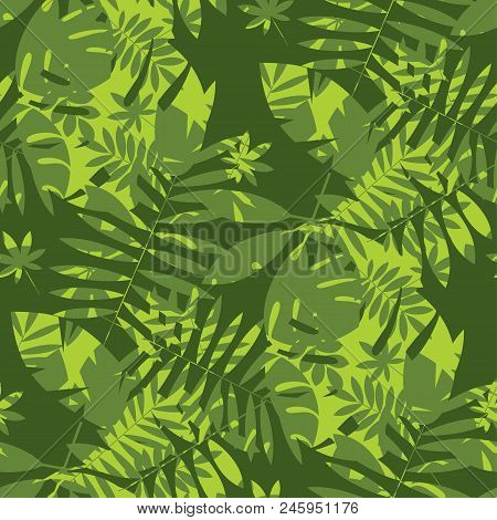 Shabby Jungle Camouflage Seamless Pattern. Geometric Sophisticated Leaves Endless Repeatable Motif F