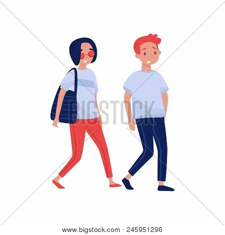 Young Couple Walking Together. Cartoon People Characters. Young Girl And Guy In Casual Clothes. Woma