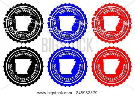 Arkansas - Rubber Stamp - Vector, Arkansas (united States Of America) Map Pattern - Sticker - Black,