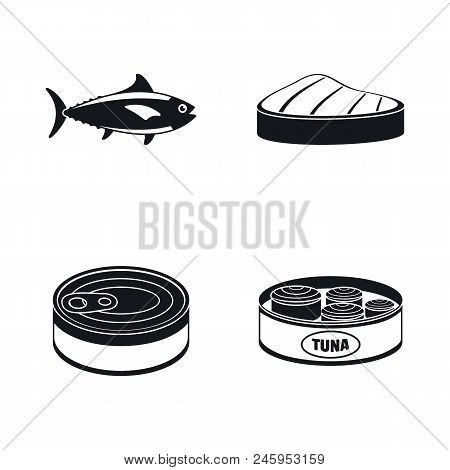 Tuna Fish Can Steak Icons Set. Simple Illustration Of 4 Tuna Fish Can Steak Vector Icons For Web