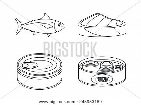 Tuna Fish Can Steak Icons Set. Outline Illustration Of 4 Tuna Fish Can Steak Vector Icons For Web