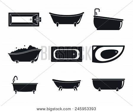 Bathtub Interior Icons Set. Simple Illustration Of 9 Bathtub Interior Vector Icons For Web