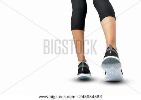 Sports Background, Runner Feet Running On Shoe Isolated On White Background, Sport Woman Running, Fi