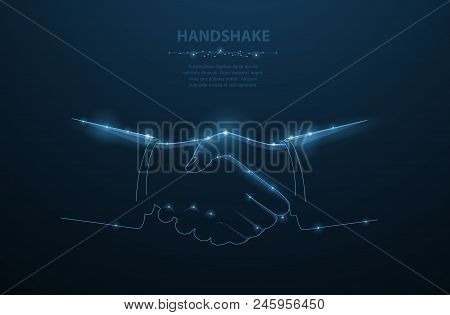 Vector Man Handshake. Abstract Polygonal Businessman Handshake Illustration Dark Blue Background And