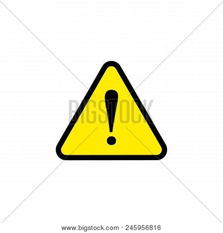 Vector Caution Danger Sign, Yellow Triangle Flat Icon, Dangerous Sign, Bright Symbol.