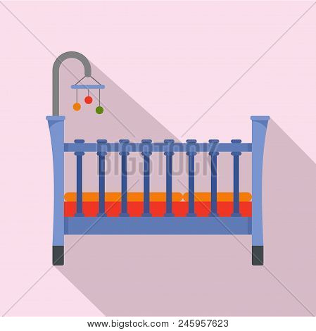 Baby Crib Icon. Flat Illustration Of Baby Crib Vector Icon For Web Design