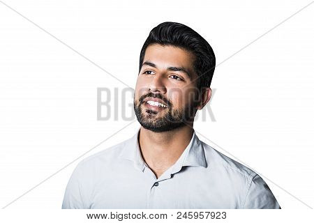 Portrait Of Arabic Serious Smiling Happy Successful Male Man Businessman Or Worker In White Shirt Wi