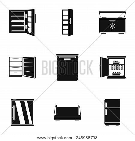 Refrigerator Icons Set. Simple Set Of 9 Refrigerator Vector Icons For Web Isolated On White Backgrou