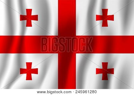 Georgia Realistic Waving Flag Vector Illustration. National Country Background Symbol. Independence