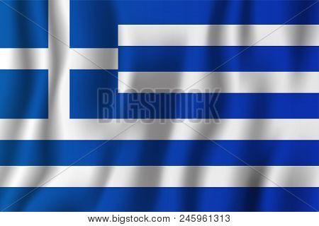 Greece Realistic Waving Flag Vector Illustration. National Country Background Symbol. Independence D
