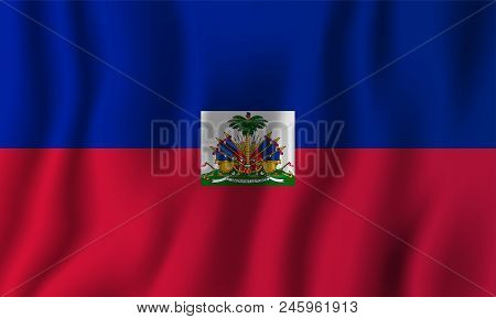 Haiti Realistic Waving Flag Vector Illustration. National Country Background Symbol. Independence Da