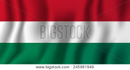 Hungary Realistic Waving Flag Vector Illustration. National Country Background Symbol. Independence