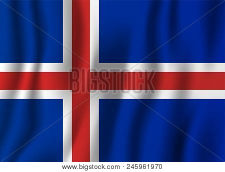 Iceland Realistic Waving Flag Vector Illustration. National Country Background Symbol. Independence