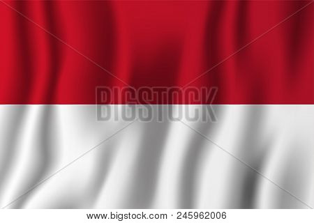 Indonesia Realistic Waving Flag Vector Illustration. National Country Background Symbol. Independenc