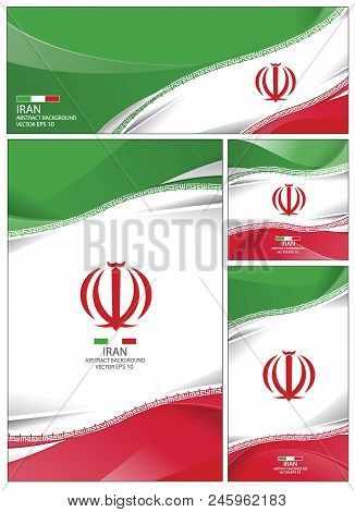 Iran Flag Abstract Colors Background. Collection Banner Design. Brochure Vector Illustration.
