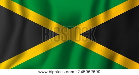 Jamaica Realistic Waving Flag Vector Illustration. National Country Background Symbol. Independence