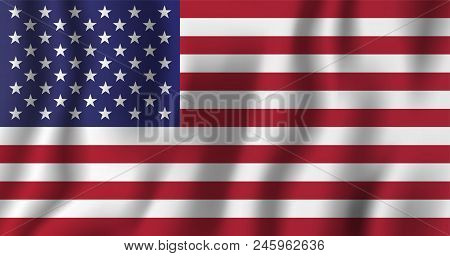 Usa Realistic Waving Flag Vector Illustration. National Country Background Symbol. Independence Day.