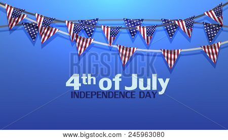 4th Of July Independence Day Usa Vector Sale Banner Illustration. Holiday Greeting Card With Nationa
