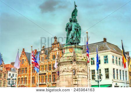 Statue Of Jan Breydel And Pieter De Coninck On Market Square In Bruges, Belgium