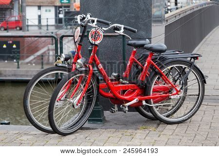 Amsterdam, Netherlands - June 25, 2017: Mac Bike Rental Bicycles In Amsterdam. Macbike Has Been Rent