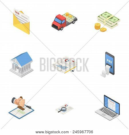 Cash Delivery Icons Set. Isometric Set Of 9 Cash Delivery Vector Icons For Web Isolated On White Bac