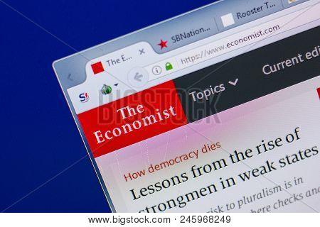 Ryazan, Russia - June 16, 2018: Homepage Of Economist Website On The Display Of Pc, Url - Economist.
