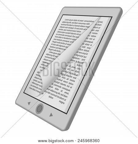 Ink Reader Tablet Mockup. Realistic Illustration Of Ink Reader Tablet Vector Mockup For Web Design I