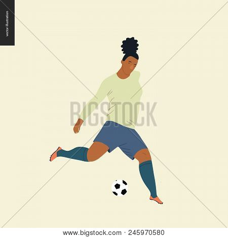 Womens European Football, Soccer Player - Flat Vector Illustration Of A Young Woman Wearing European