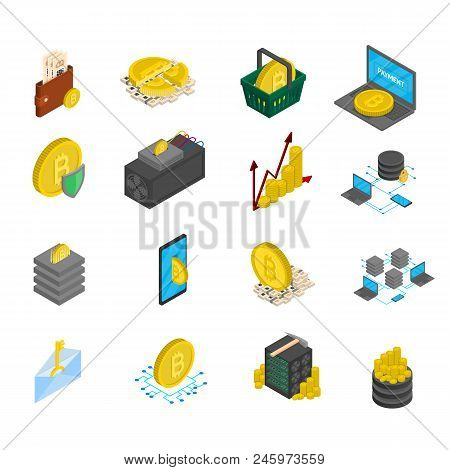 Vector Isometric Blockhain And Cryptocurrency Icons Set. Cryptocurrency Business Online Payment Tran