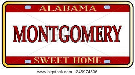 Montgomery Alabama State License Plate In The Colors Of The State Flag With The State Name Over A Wh