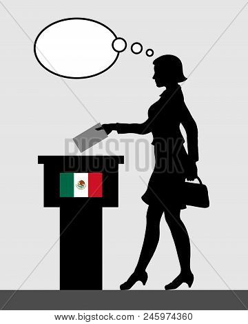 Mexican voter female voting for election in Mexico with thought bubble. All the silhouette objects and backgrounds are in different layers. poster