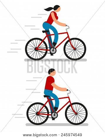 Color Pictograms Of Men And Women Riding Bicycles. Icon People.