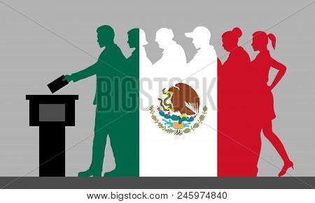 Mexican Voters Crowd Silhouette Like Mexico Flag By Voting For Election. All The Silhouette Objects,