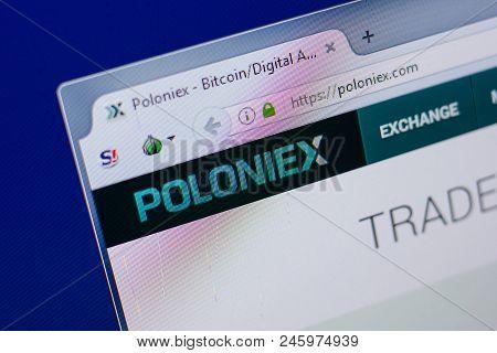 Ryazan, Russia - June 17, 2018: Homepage Of Poloniex Website On The Display Of Pc, Url - Poloniex.co
