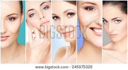 Collage Of Female Portraits. Healthy Faces Of Young Women. Spa, Face Lifting, Plastic Surgery Collag