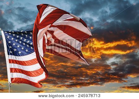 American Flag Waving In The Wind Beautiful Sunset Sunrise With Clouds, In Pink And Purple Shades Pin
